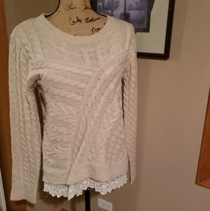 Tan Cable Knit Sweater with Cream Lace detailing